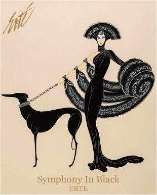 Symphony in Black, Vintage ERTE Lithograph Poster, 1999