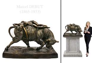 After Marcel Debut Monumental Patinated Bronze Statue