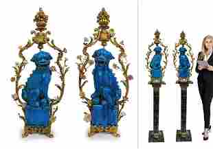 A Pair of Very Large Chinoiserie Foo Dogs, 19th C.