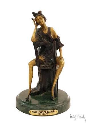 Saloon Girl, After Louis Icart Bronze Sculpture, Signed