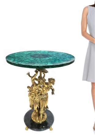 19th C Russian Malachite Figural Bronze Side Table