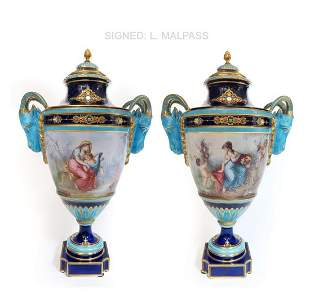 A PAIR OF SEVRES JEWELED PORCELAIN FIGURAL VASES
