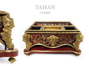 19th C. TAHAN Inkwell Boulle Marquetry Napoleon III