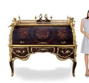 A Monumental Louis XV Style Cylinder Bureau Du Roi Desk