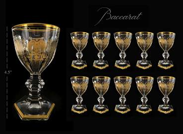 Set of 10 Sherry Stems Genuine Baccarat Crystal, 19th C