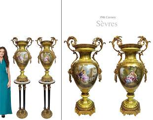 A Pair of Very Large Yellow Sevres Bronze Vases, 19th C
