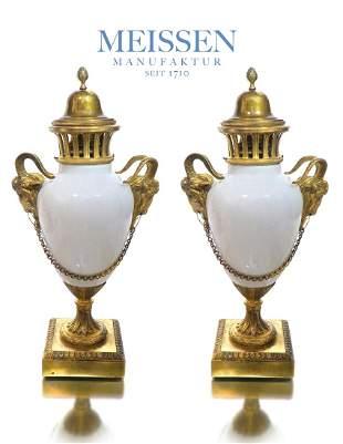 A Pair of 19th C. Meissen Figural Bronze Porcelain Vase
