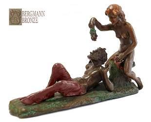 Eve & Satyr, Franz Bergman Signed Bronze Figurine Group