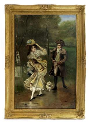 th C. French Oil on Board Painting by Maurin