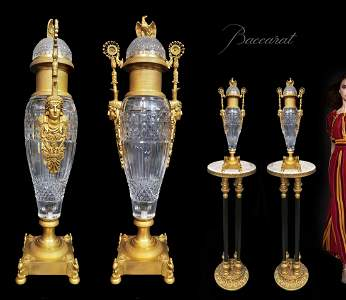 A Pair of Baccarat Crystal & Bronze Figural Urns/Vases