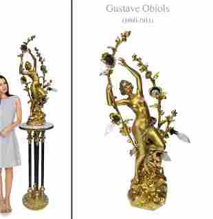 19TH C. ART NOUVEAU BRONZE LAMP STATUE, SIGNED