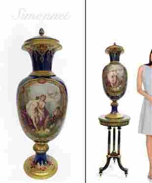 "35"" Large French Sevres porcelain Vase by Simonnet"