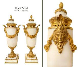 A Pair of Henri Picard Gilt Bronze Marble Lidded Urns
