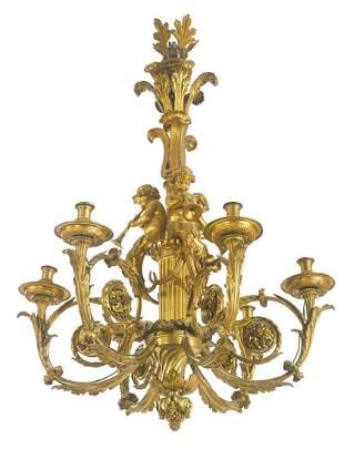 "A ""Henri Dasson"" Signed Gilt bronze 6-light chandelier"