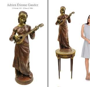 """Adrien Etienne GAUDEZ (1845-1902) Bronze Sculpture H42"""""""