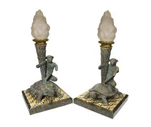 A Pair of Bronze Figural Lamp Mounted Pietra Dura