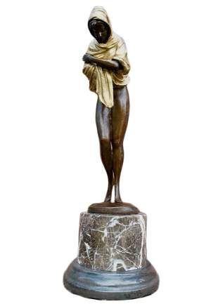 The Shawl, Patina-ted Bronze Sculpture, D.Alonzo Signed