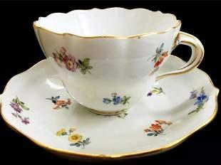 German Meissen Hand Painted Porcelain Cup & Saucer