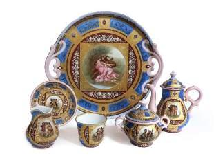 Fine Royal Vienna Style Porcelain Tea Set, 19th C.