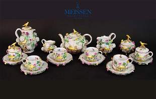 Very Rare 19th C. Snowball Meissen Tea and Coffee Set