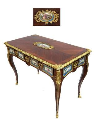 Louis XV Style Gilt Bronze & Sevres Mounted Ladies Desk