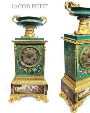 19TH C. FRENCH JACOB PETIT PORCELAIN MANTEL CLOCK