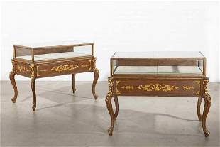 A Pair of Rococo Style Parcel Gilt Wood Vitrine Tables