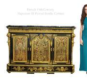 19th C French Napoleon III Period Bronze Boulle Cabinet