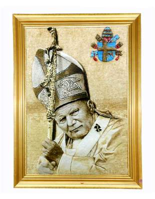 Persian Wool & Silk Pope John Paul II Portrait Rug