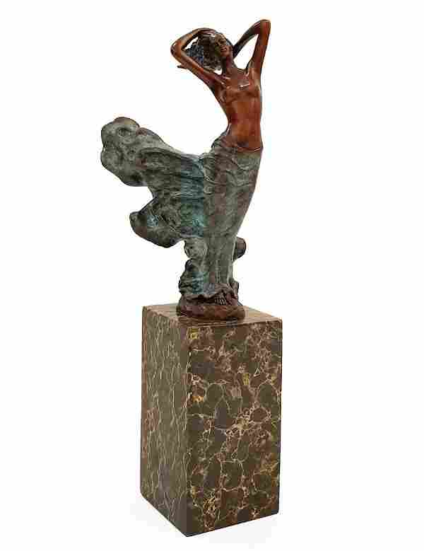 Lady In Wind, Art Deco Patinated Bronze Figurine Signed