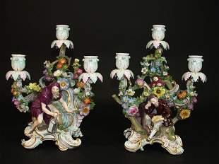 A Pair of 19th C. German Meissen Figural Candelabras