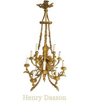 Exceptional Henri Dasson Figural Bronze Chandelier