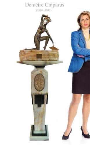 Art Deco CHIPARUS Sculpture on Onyx/Bronze Pedestal