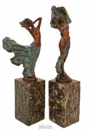 Ladies Wind, A Pair of Art Deco Bronze Statues, Signed