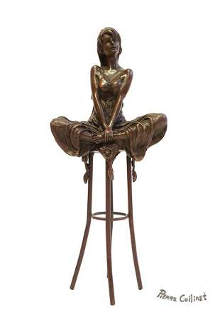 "A Lady on Stool, A Bronze Figurine By ""Pierre Collinet"""