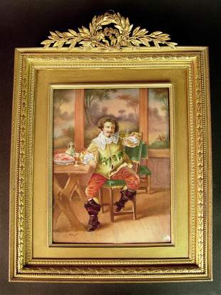 19th C. Limoge Hand Painted Enamel Gilt bronze Frame