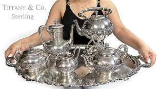 Large St. Silver Tiffany & Co Tea Set on Silver EP Tray