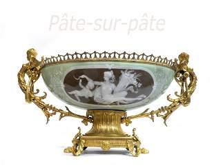 19th C. Green Pate Sur Pate & Gilt Bronze Centerpiece