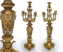 A Pair of Chinoiserie Champleve Candelabras, 19th C.