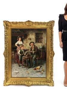 A Monumental Eugenio Edouardo Zampighi Oil on Canvas