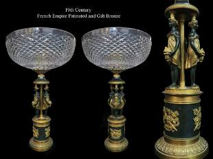 A Pair of Empire Patinated & Gilt Bronze Centerpieces