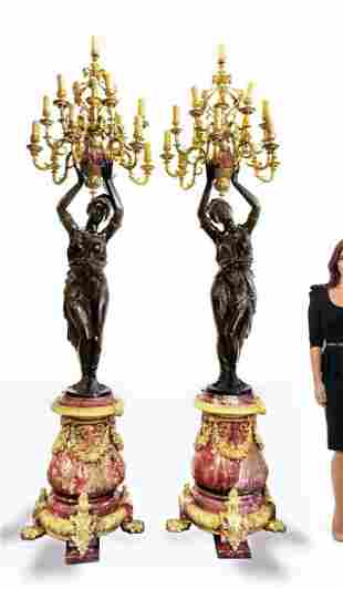 Pair of Monumental French Bronze/Rouge Marble Torcheres