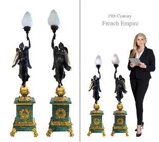 A Pair of Empire style Figural Bronze & Malachite Lamp