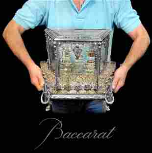 19th C. Baccarat Crystal Silver-Plated Bronze Tantalus