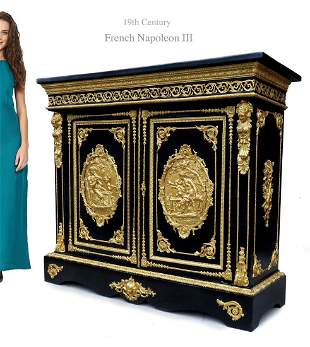 Napoleon III Style Bronze Plaques Side Cabinet, 19th C.