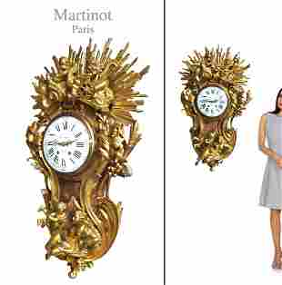 VERY LARGE GILT BRONZE CARTEL CLOCK BY MARTINOT, 19th C