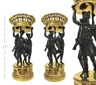 A PAIR OF LARGE EMPIRE-STYLE FIGURAL BRONZE CENTERPIECE