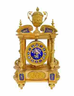 19th C. French Gilt Bronze & Porcelain Clock