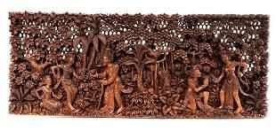 Vintage Figural Thai Wooden Carved Panel