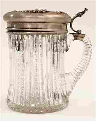 American Brilliant Cut Crystal Sterling Silver Jar